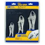 Irwin Vise-Grip 10508020 3 Piece Original Curved Jaw Locking Pliers Set in Storage Tray