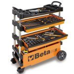 Beta C27S Folding Portable Collapsable Tool Trolley With Drawers Orange