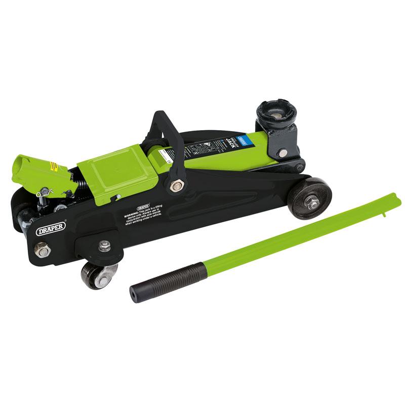 Draper 54636 Light Floor Trolley Jack In Carry Case 2 Tonne Green