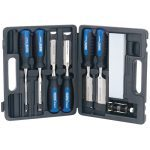 Draper 88605 8 Piece Wood Chisel Set With Sharpening Stone & Honing Guide