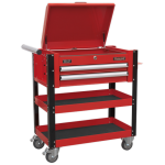 Sealey AP760M Heavy-Duty Mobile Tool & Parts Trolley 2 Drawers & Lockable Top - Red