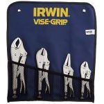 Irwin Vise-Grip T71 4 Piece Original Curved, Straight and Long Nose Locking Pliers Set in Kit Bag