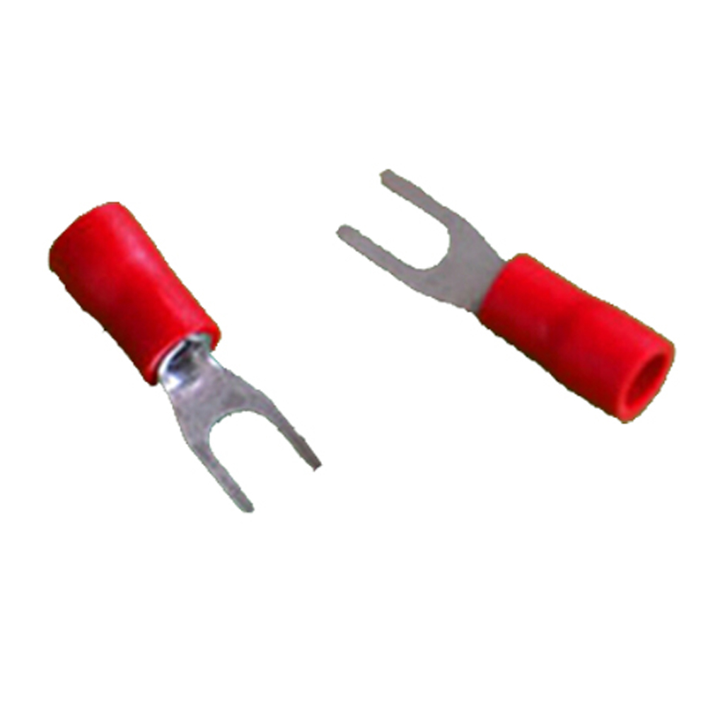 100 x Red 4.3mm Insulated Crimp Fork Terminal
