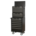 Sealey AP22BSTACK 14 Drawer Tool Box Stack - Roll Cab, Top & Mid Chests - Black
