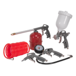 Sealey SA33G  5 Pce Air Tool Kit - Spray/Blow/Paraffin Gun,Tyre Inflator & Hose